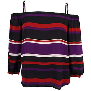 NWT INC Womens Off-The-Shoulder Striped Casual Top